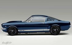Blue Mustang - Foose Wheels by on DeviantArt 65 Mustang Fastback, 1965 Mustang, Ford Mustang Fastback, Mustang Cars, Ford Mustangs, Shelby Gt500, Muscle Cars, Hot Wheels, Classic Mustang