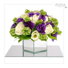 Simple small white and purple centerpiece