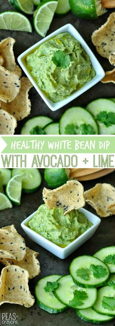Healthy White Bean Dip with Avocado and Cilantro is a speedy snack that's full of flavor. We love this easy appetizer! Gluten-Free + Vegetarian + Vegan
