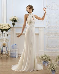 New Delicate Chiffon With Beading Satin Halter Pearls Slim A-Line Court Train Vintage Wedding Dresses Vestidos De Noiva 2017 -- AliExpress Affiliate's buyable pin. Detailed information can be found on www.aliexpress.com by clicking on the image #AlineWeddingDress