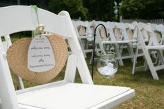 Any outdoor wedding should consider the fan. Love the touch of petals in the voltives holder on a shepherd hooks. Vintage at thrift pricing.