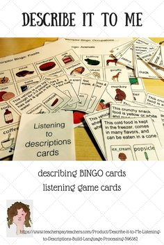 Description cards for #LanguageProcessing, Practice for language processing skills with Bingo-type cards, game boards & cards for identifying things/people by listening to descriptions. $