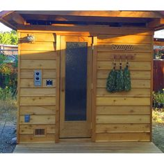 Outdoor home sauna kit with pre-built wall panels including sauna heater, door with window and accessories for 4 persons Rustic Saunas, Home Sauna Kit, Outdoor Sauna Kits, Sauna Ideas, Sauna Heater, Outdoor Projects, Outdoor Decor, Porch Roof, Hot Tubs