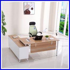 New design luxury modern boss office furniture l shape modern wooden executive office desk Modern Office Table, Office Table Design, Office Furniture Design, Office Interior Design, Office Interiors, Office Desk, Furniture Ideas, Corporate Office Design, Modern Office Design