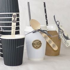 Rippled Paper Cups for Coffee Hot Chocolate or Ice Cream | via LolaLovesAparty