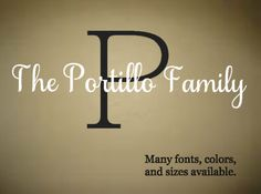 Family Name Wall Decal Last Name Wall Decal by RoseandRust on Etsy