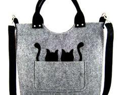 Katzen Handtasche Filz Handtasche Tasche für von Torebeczkowo