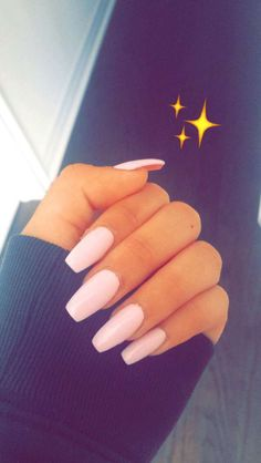 Nails acrylic coffin pink pastel