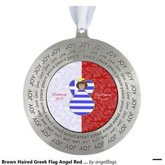 Brown Haired Greek Flag Angel Red White Round Pewter Christmas Ornament