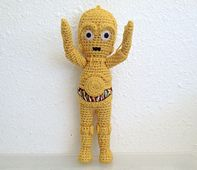 Crochet amigurumi C-3P0!! $6.00---pattern page available if you click on photo.