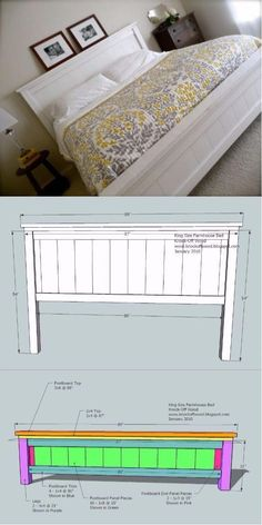 Diy King Bed Frame, King Size Bed Frame, Diy Frame, White King Bed Frame, White King Size Bed, Diy Bed Frame Plans, Making A Bed Frame, King Size Bedroom Sets, King Size Bedding