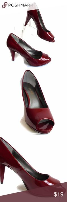Red Patent Leather Peep Toe Pump Size 7.5 Wide Moda Red Peep Toe Dress Shoe Patent Leather Size 7.5 Wide  Like New Condition Moda Spana Shoes Heels
