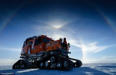Tough terrain: A snowcat vehicle which is used by the British Antarctic team to explore the local area and carry out their studies