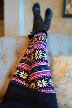 colorful pink snowflake print leggings christmas holiday leggings on Etsy, $22.00