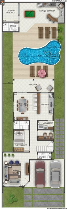 (notitle) - home - Fachadas Modern House Plans, Small House Plans, Modern House Design, House Floor Plans, House Layouts, My Dream Home, Home Projects, Planer, My House