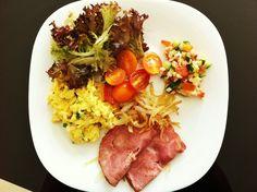 Breakky! #paleobreakfast #turkeyham #chivesscrambledegg #greensalad #seafoodceviche