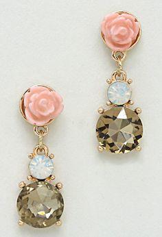 Rose champagne earrings