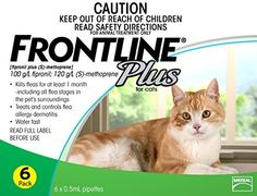 Merial Frontline Plus Flea and Tick Control for Cats and Kittens 6 doses Prevents Control Kills ** Click image for more details.(This is an Amazon affiliate link and I receive a commission for the sales)