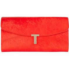 Ted Baker Jamun T Clasp Maxi Clutch Handbag , Orange found on Polyvore
