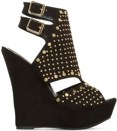 Krisna Peep-Toe Wedges Black
