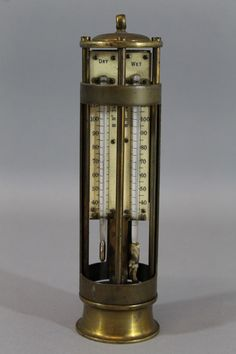 Antique John Davis Son Derby Brass Mining Hygrometer Dry Wet Thermometer | eBay
