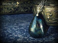 Oil Slick No.4 ... necklace natural labradorite stone sterling silver plated stone semi precious stone metalwork gypsy boho chic bohemian. $40.00, via Etsy.