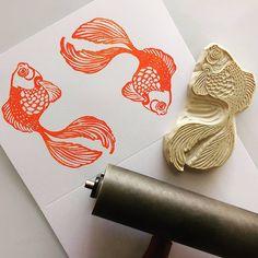 """""""Doing a bit of #printmaking this morning. Meet Sushi."""" @smallfoxpress #rubberstamp #goldfish"""