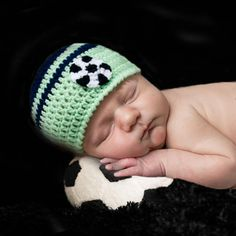 SOCCER BABY Hat & Diaper, Crochet Soccer Baby, Lime Green Navy Blue, Knit Baby Soccer, Soccer Photo Prop, Soccer Baby Gift, Baby Boy Soccer by Grandmabilt on Etsy