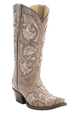 Corral Women's Bone Tan w/Floral Fancy Stitch Snip Toe Western Boots | Cavender's