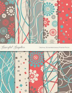 Printable Scrapbook Paper (Coral, Turquoise, and Grey)