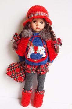 "Rocking Horse Red Tartan Ensemble Outfit for Little Darling Effner 13"" dolls"