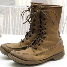 Vtg '50s GH BASS 'Quail Hunter' Boot, sz 8 E - Tan Leather/Moc-Toe, Hunting/Work #Bass #Boots