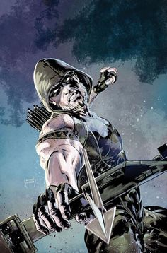 Green Arrow #52 variant cover by Szymon Kudranski after Ivan Reis *
