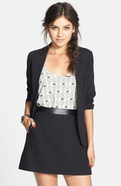Frenchi® Faux Leather Trim Tweed Miniskirt (Juniors) available at #Nordstrom; too short but cute
