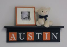 Navy and Orange Nursery Decor - Baby Boy Gift - Personalized for AUSTIN - 24 Navy Blue Shelf with 6 Wood Wall Letters via Etsy