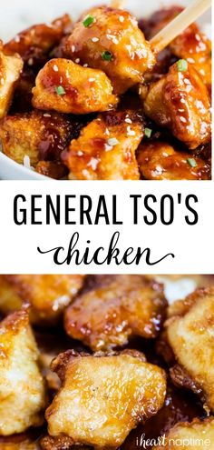 Skip the takeout and make this delicious General Tso s Chicken at home! You ll fall in love with the sweet and spicy General Tso sauce poured over the crispy, juicy chicken. This is truly a restaurant-style recipe! asian recipes General Tso s Chicken Chinese Chicken Recipes, Easy Chinese Recipes, Mexican Food Recipes, Recipe Chicken, Recipes Dinner, Dinner Entrees, Recipes For Chicken, Spicy Chinese Chicken, Chinese Style Chicken