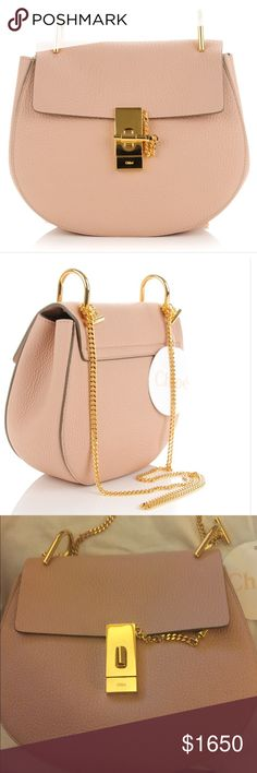 """CHLOE small drew Small pink cement CHLOE drew bag with gold hardware and 20"""" inch drop chain.  It's made of deluxe grained lamb skin with suede interior.  This bag is perfect for day or night Chloe Bags Shoulder Bags"""