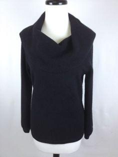 JONES-NEW-YORK-Sweater-Womens-M-Cashmere-Black-Knit-Cowl-Neck-Tunic-Long-Sleeve