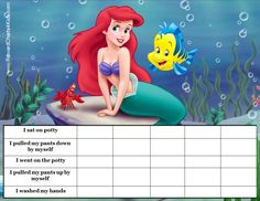 Tons of free potty training chart templates for kids with all their favorite characters! Customize online and print at home! Printable Potty Chart, Toddler Potty Training, Preschool Projects, Disney Little Mermaids, Toddler Preschool, Printables, Potty Charts, Kids, Children