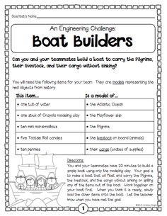 """Boat Builders"" ... An engineering challenge from the ""Thanksgiving Science"" pack ... 5 standards-based, collaborative, hands-on science activities to help you celebrate the holiday with your students. (24 pages, $) #Thanksgiving"