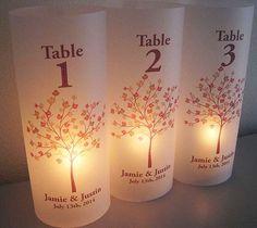 Numéros de Table luminaire mariage par SaidInStoneOnline sur Etsy