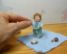Miniature Toddler Baby Dollhouse Baby SET OOAK Handmade Artist Art Doll 1:12