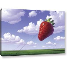 Jerry Lofaro Strawberry Field Gallery-Wrapped Canvas, Size: 16 x 24, Green