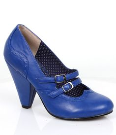 Retro Style Blue Mary Jane Millie Pumps