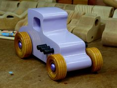 Wooden Toy Car - Hot Rod Freaky Ford - 27 T Coupe - MDF - Lavender - Amber Shellac - Metallic Purple #woodentoycar #hotrod #odinstoyfactory