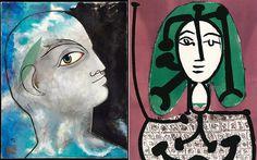 Αριστερα, Jean Cocteau: «Δαφνοστεφανωμένος Ορφέας» 1951, 80x65 εκ. Δεξιά, Pablo Picasso: «Η γυναίκα με πράσινα μαλλιά», 28-3-1949. Λιθογραφία.