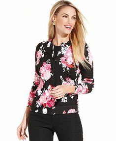 Charter Club Long-Sleeve Floral-Print Cardigan
