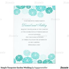 Simple Turquoise Garden Wedding 4.5x6.25 Paper Invitation Card