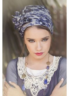 Easy wrap turban made from classy chiffon and viscose fabrics in blue and grey