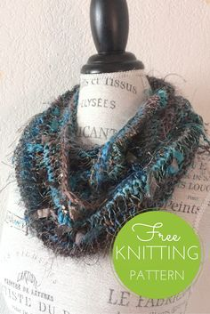Stuff Cowl Free Knitting Pattern - worn doubled around the neck